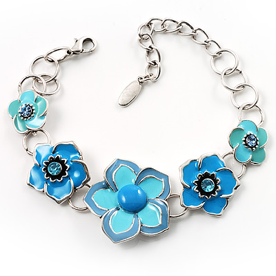 5 Blue Enamel Flower Bracelet
