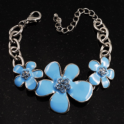Sky Blue Floral Enamel Bracelet