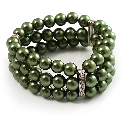 Olive Green Plastic Beaded Flex Bracelet
