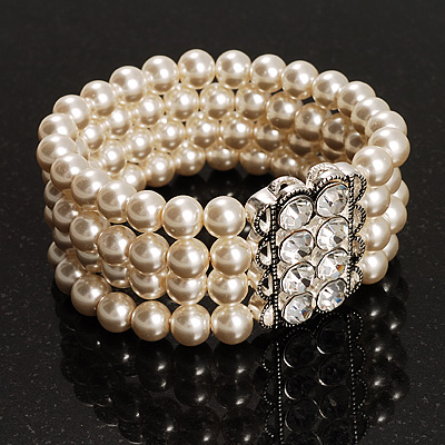 4 Strand White Crystal Pearl Style Flex Bridal Bracelet