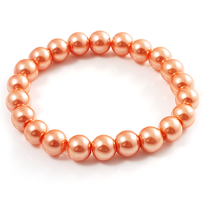 Peach Coloured Pearl Style Flex Bracelet -8mm - main view