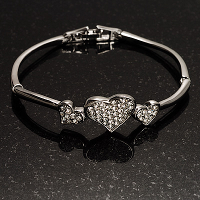 Delicate Crystal Heart Bracelet (Silver Tone)