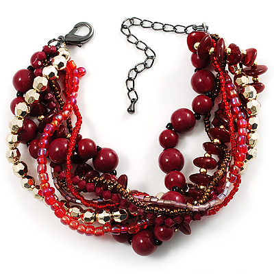 Multistrand Beaded Bracelet (Red, Cranberry&amp;Gold)