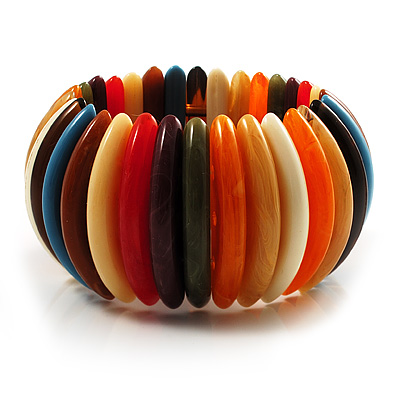 Wide Multicoloured Flex Resin Bracelet