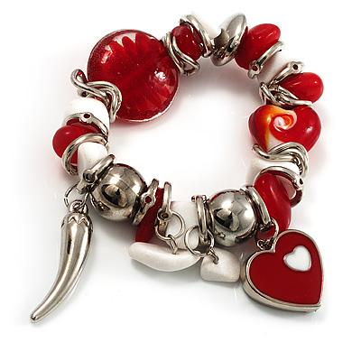 Silver Tone, Heart Charm Glass Bead Flex Bracelet (Red&White)
