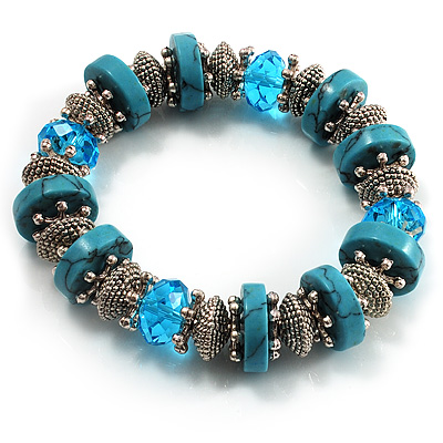 Stunning Turquoise Style Bead Flex Bracelet