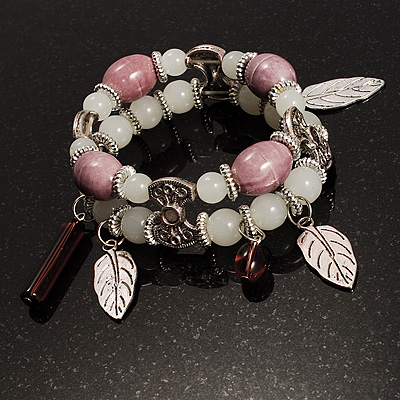 2-Strand Leaf Charm Ceramic And Resin Bead Flex Bracelet (Lavender&amp;Milk)