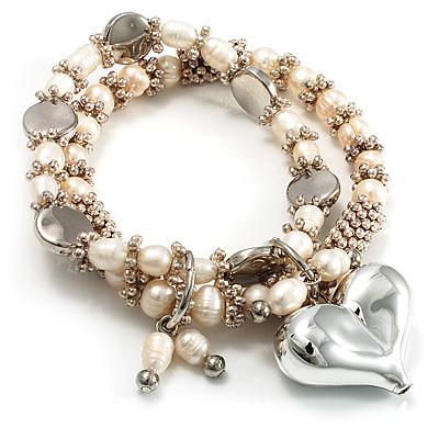 2 Strand Freshwater Pearl Puffed Heart Flex Bracelet (Silver Tone)