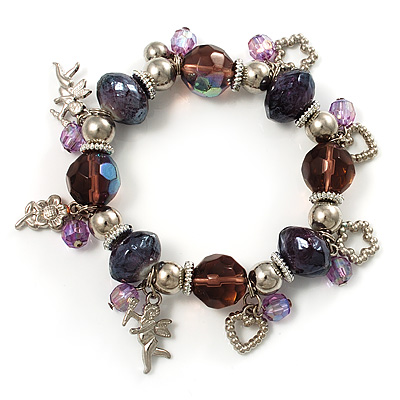 Lilac Bead Charm Flex Bracelet (Silver Tone)