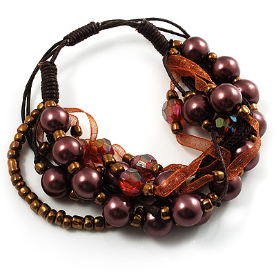 Multistrand Bead Bracelet (Chocolate&Amber Brown) - main view