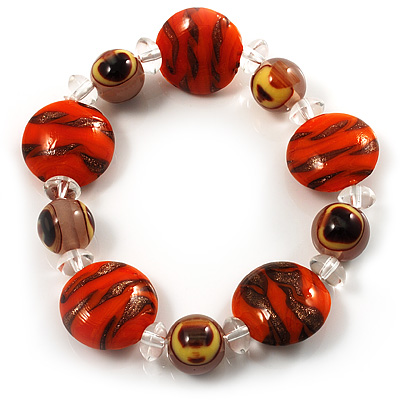 Tiger Print Glass Bead Flex Bracelet