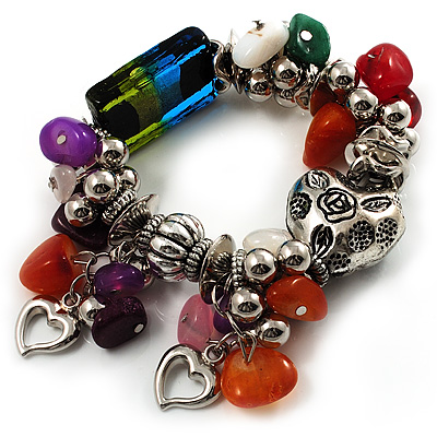 Multicolour Bead&Stone Heart Charm Flex Bracelet (Antique Silver Tone) - main view