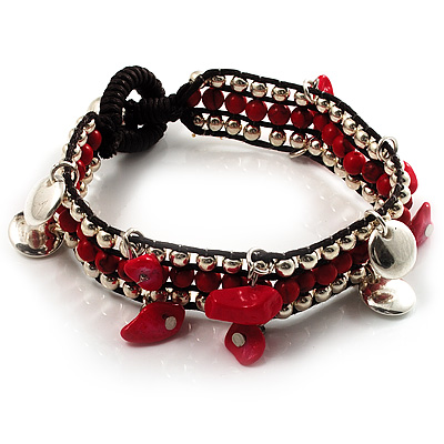 Bright Red Semiprecious Stone Charm Wristband Bracelet (Silver Tone)