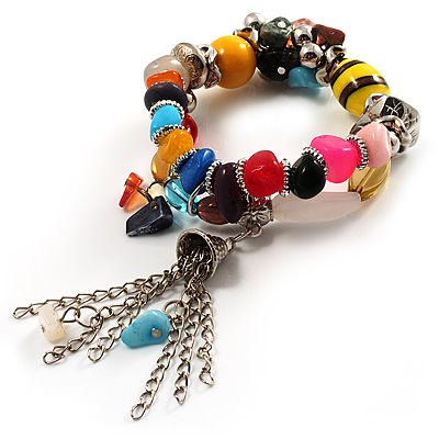 Multicoloured Flex Bead Tassel Bracelet (Silver Tone) - main view