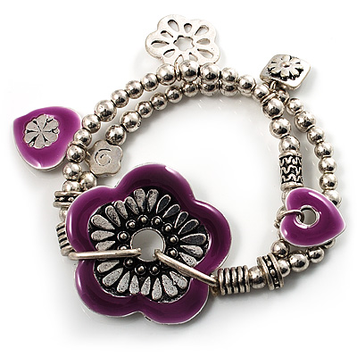 2-Strand Purple Floral Charm Bead Flex Bracelet (Antique Silver) - main view