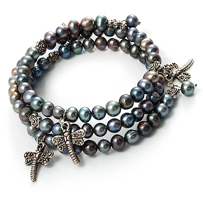 3 Strand Peacock Freshwater Pearl Charm Wrap Bangle Bracelet (6mm)