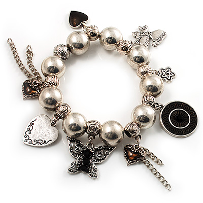 Vintage Bead Heart&Butterfly Charm Flex Bracelet (Antique Silver Tone) - main view