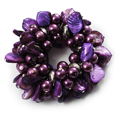 Chunky Purple Shell And Bead Flex Bracelet