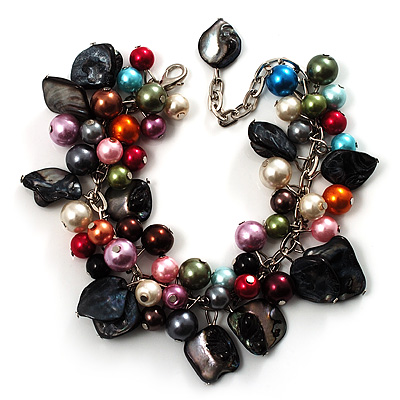 Multicoloured Pearl Bead &amp; Shell Charm Bracelet (Silver Tone)