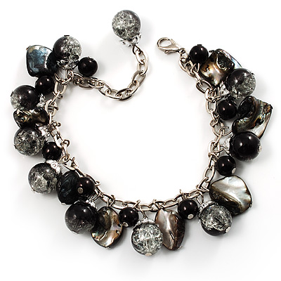 Black Glass And Shell Bead Charm Bracelet (Silver Tone)