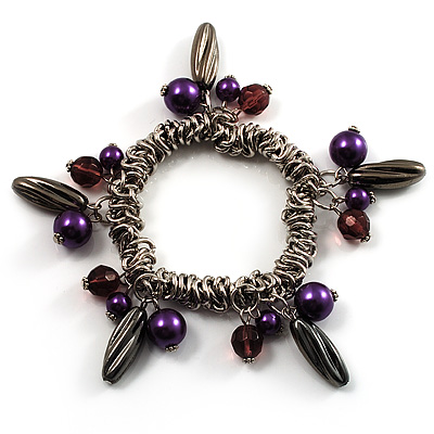 Silver Tone Link Bead Charm Flex Bracelet (Purple)