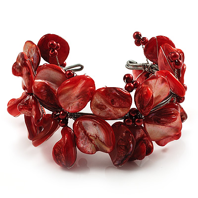 Coral Red Floral Shell & Simulated Pearl Cuff Bracelet (Silver Tone) - main view