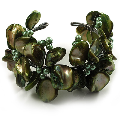 Olive Green Floral Shell &amp; Pearl Cuff Bracelet