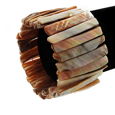 Wide Ivory Beige Shell Stretch Bracelet (Stripes)
