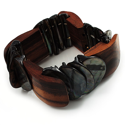 Charming Shell And Wood Stretch Bracelet (Brown & Black)
