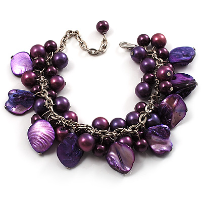 Deep Purple Pearl Bead &amp; Shell Charm Bracelet (Silver Tone)