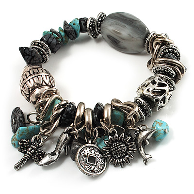 Vintage Beaded Charm Flex Bracelet (Antique Silver & Turquoise)