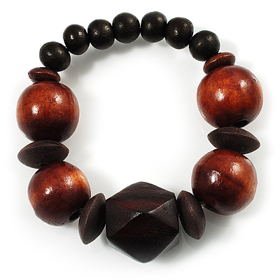 Dark Brown Chunky Wood Bead Flex Bracelet - 18cm Length - main view