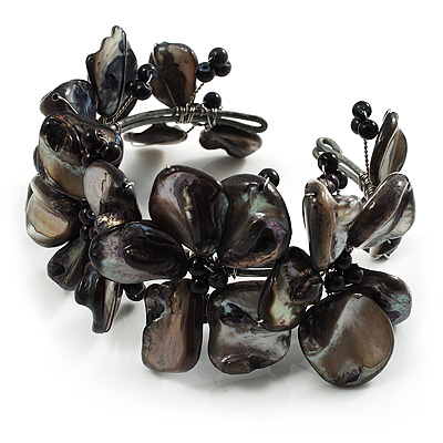 Black Floral Shell &amp; Pearl Cuff Bracelet