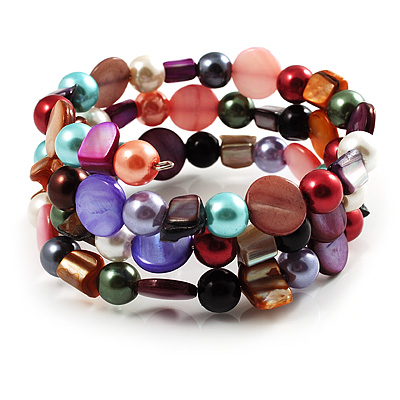 Acrylic &amp; Shell Bead Coil Flex Bangle Bracelet (Multicoloured)