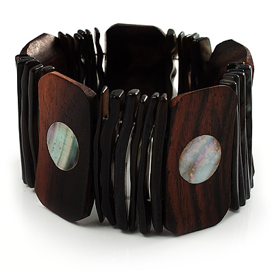 Wide Wood & Shell Stretch Bracelet (Brown & Black)
