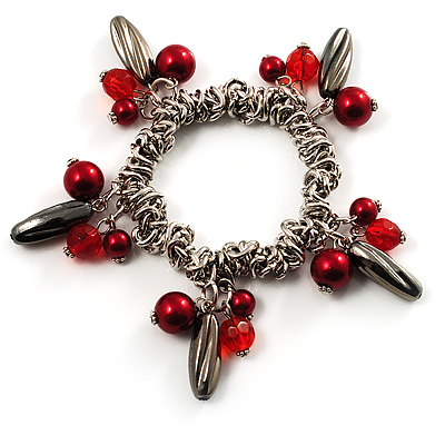 Silver Tone Link Bead Charm Flex Bracelet (Red) - main view