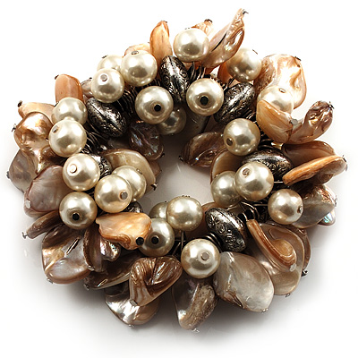 Chunky Antique White Shell And Bead Flex Bracelet