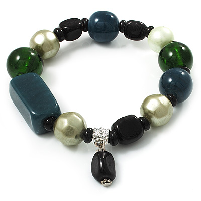 Glass, Ceramic &amp; Plastic Bead Charm Flex Bracelet (Teal, Green &amp; Black)