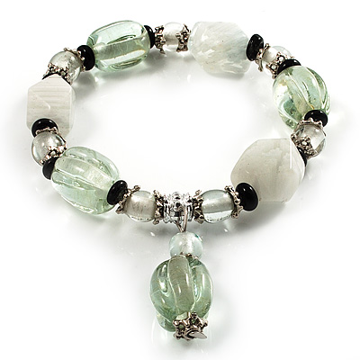 Pale Green & Milk White Resin & Glass Charm Flex Bracelet (Silver Tone)
