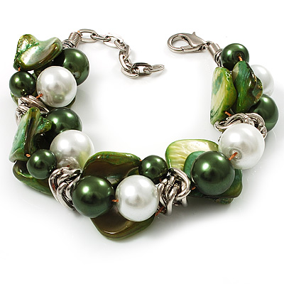 Faux Pearl &amp; Shell - Composite Silver Tone Link Bracelet ( Green, Olive &amp; White)