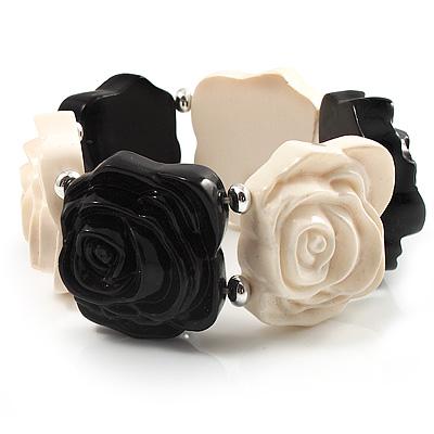 Avalaya Black & White Acrylic Rose Flex Bracelet TFhsd