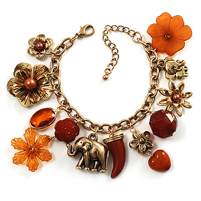 Elephant, Flower &amp; Bead Charm Bracelet (Gold Tone)