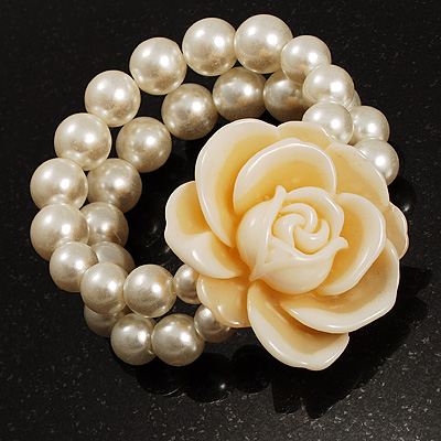 2-Strand White Pearl Style Rose Flex Bracelet