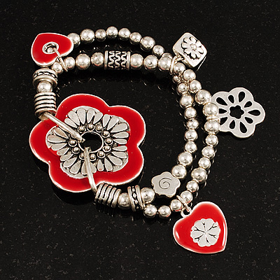 2-Strand Red Floral Charm Bead Flex Bracelet (Antique Silver Tone) - main view