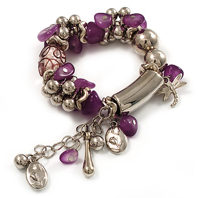 Lilac Glass Bead Charm Flex Bracelet (Silver Tone)