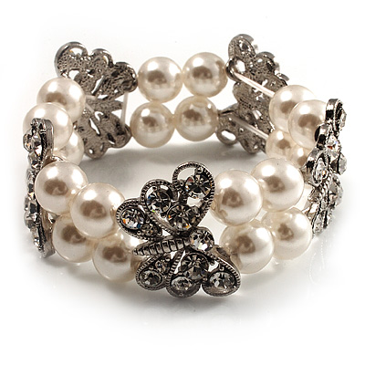 2 Strand Crystal Butterfly Pearl Style Flex Bracelet - up to 17cm (for smaller wrists)