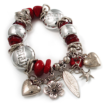 Silver Tone Red Coral Charm Flex Bracelet - main view