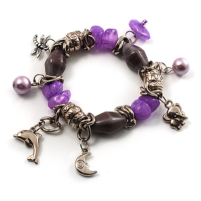 Silver Tone Charm Semiprecious Stone Flex Bracelet (Grey, Purple)