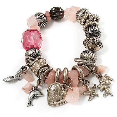 Vintage Beaded Charm Flex Bracelet (Antique Silver & Pale Pink)