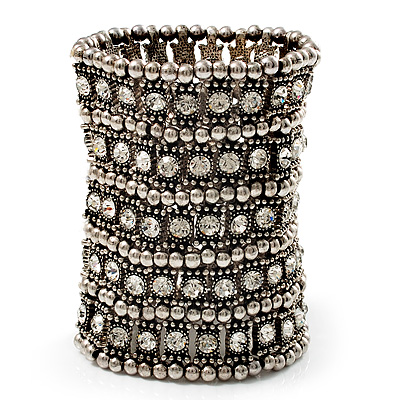 Wide Crystal Egyptian Style Flex Bracelet (Burn Silver Tone Finish) - 17cm Length